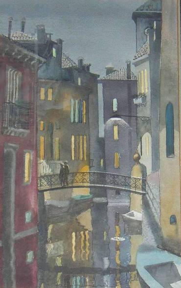 John Bryans: Venice Evening, Watercolor