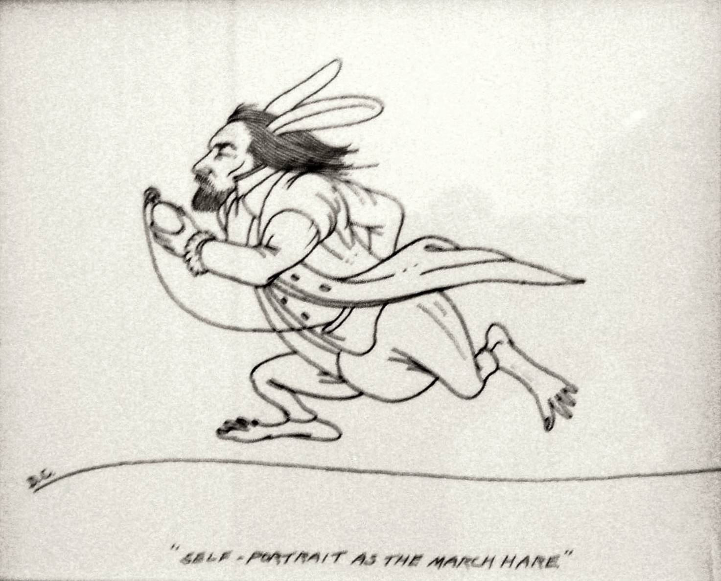 Dennis Corrigan: Self-Portrait as the March Hare, Pen & Ink